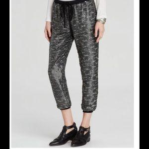Free People Gunmetal Grey Sequin Jogger pants